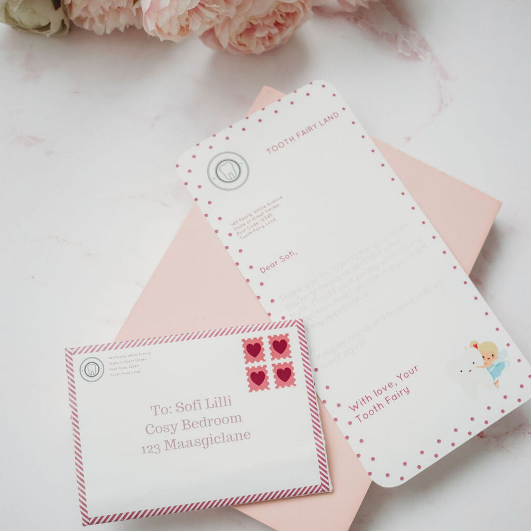 Printable Tooth Fairy Letter Set Pink