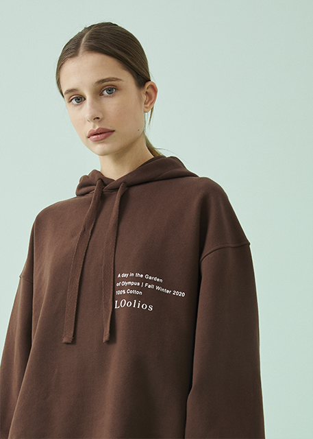 Hephaestus Oversized Hooded Sweatshirt Brown Coffee