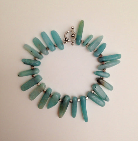 Amazonite Points & Silver Coated Hematite bracelet