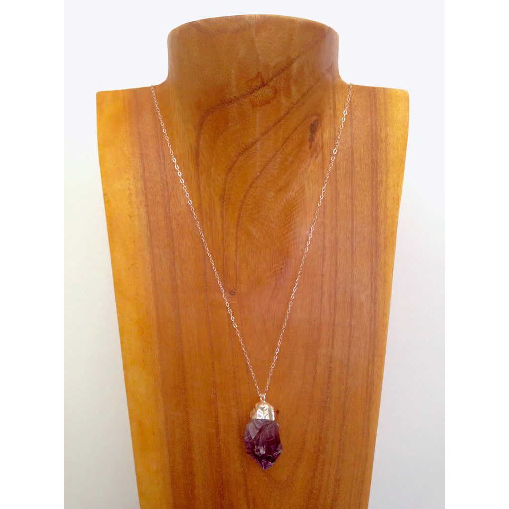 Delicate Amethyst Necklace on Sterling Silver Chain