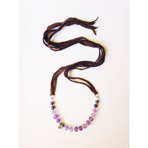 Amethyst & Sodalite Leather Adjustable Necklace