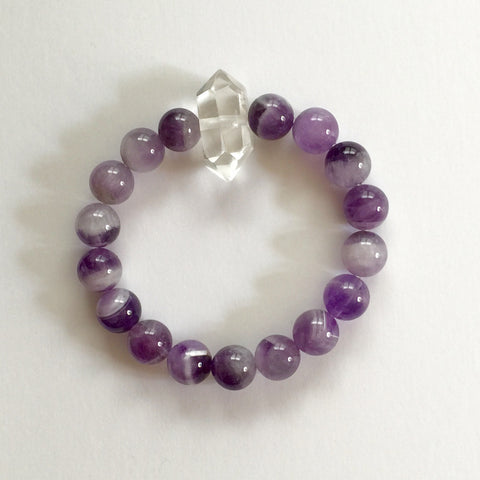 Amethyst bracelet with Clear Quartz Point