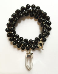 Long Onyx Necklace with Clear Quartz Pendant
