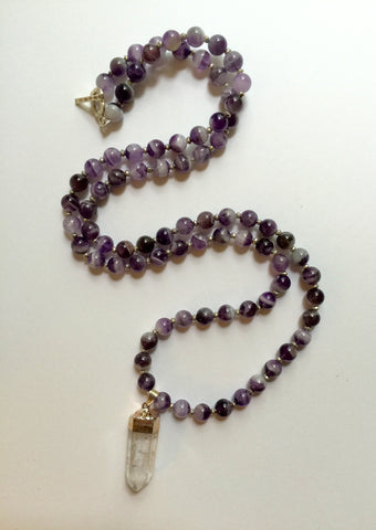 Long Amethyst Necklace with Clear Quartz Pendant