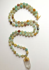 Long Amazonite Necklace with Clear Quartz Pendant