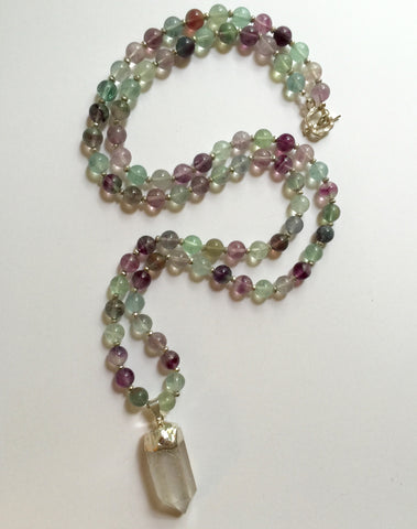 Long Fluorite Necklace with Clear Quartz Pendant
