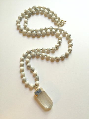 Long Howlite Necklace with Clear Quartz Pendant