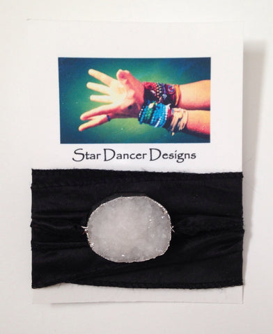 Druzy Quartz Silk Wrap Bracelet - Black