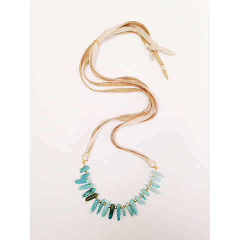 Amazonite Points convertible necklace/bracelet/crown/headband