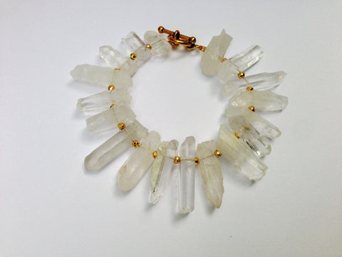 Clear Quartz Raw Crystal Points Bracelet with Gold Dipped Hematite Beads