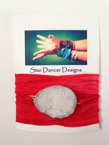 Druzy Quartz Silk Wrap Bracelet - Red