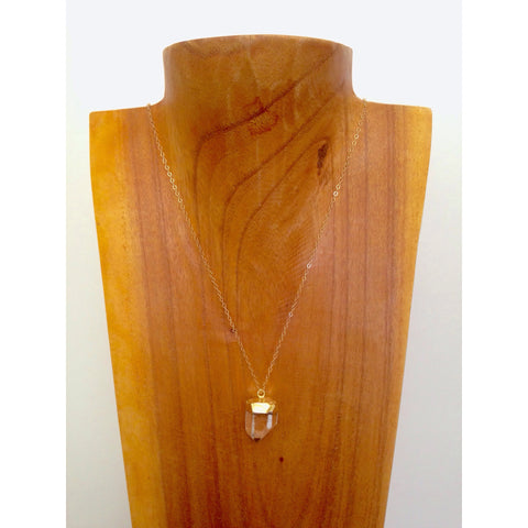 Delicate Clear Quartz Necklace on Gold Filled Chain