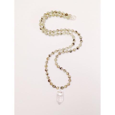 Long Prehnite Necklace with Clear Quartz Pendant