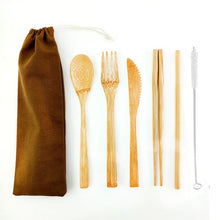 Load image into Gallery viewer, Zero Waste Bamboo Cutlery Set - Eco Sloth