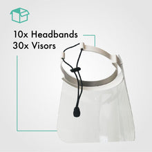 Load image into Gallery viewer, Pack of 10 Face Shield with 30 Visors