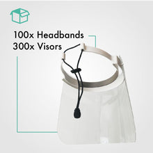 Load image into Gallery viewer, Pack of 100 Face Shield with 300 Visors