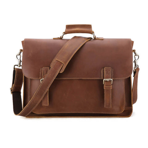 17 Inch Vintage Leather Laptop Briefcase