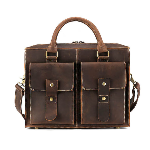 Crazy Horse Leather Laptop Bag