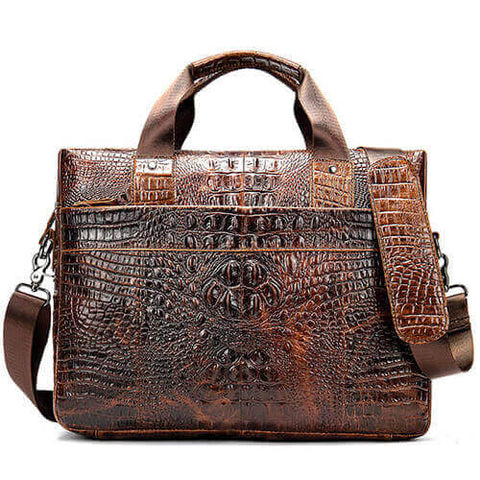 Crocodile 13 inch Leather Laptop Briefcase Bag