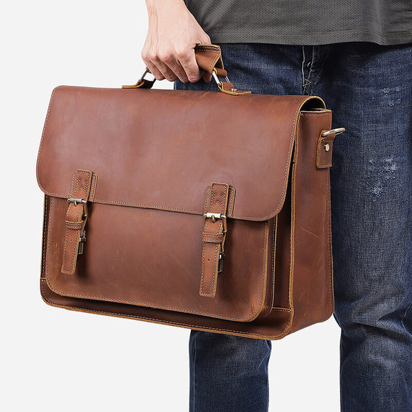 17 Inch Leather Laptop Briefcase