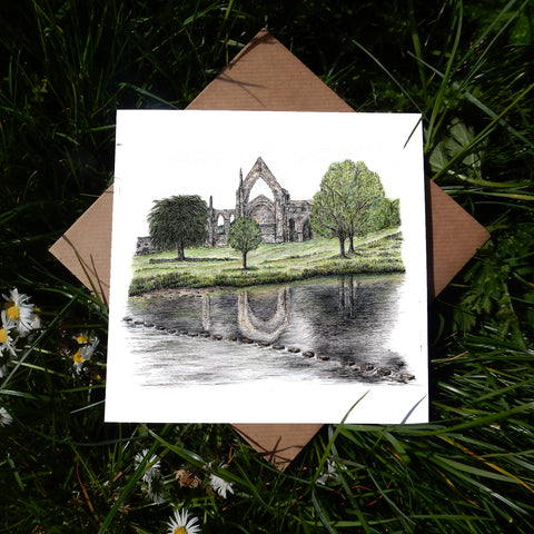 Bolton Abbey and Stepping Stones, North Yorkshire Greeting Card
