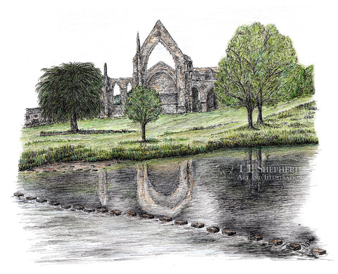Bolton Abbey and stepping stones, Yorkshire *ORIGINAL*