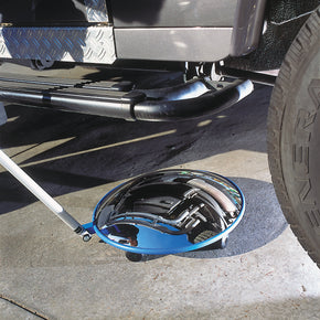 Vehicle inspection mirror with rollers