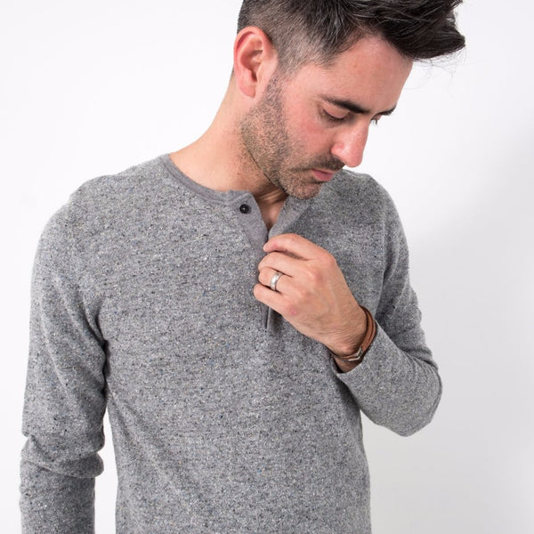 Speckled Henley / Grey Mix
