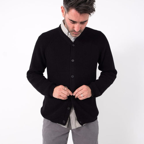 Jacob Window Pane Cardigan / Black