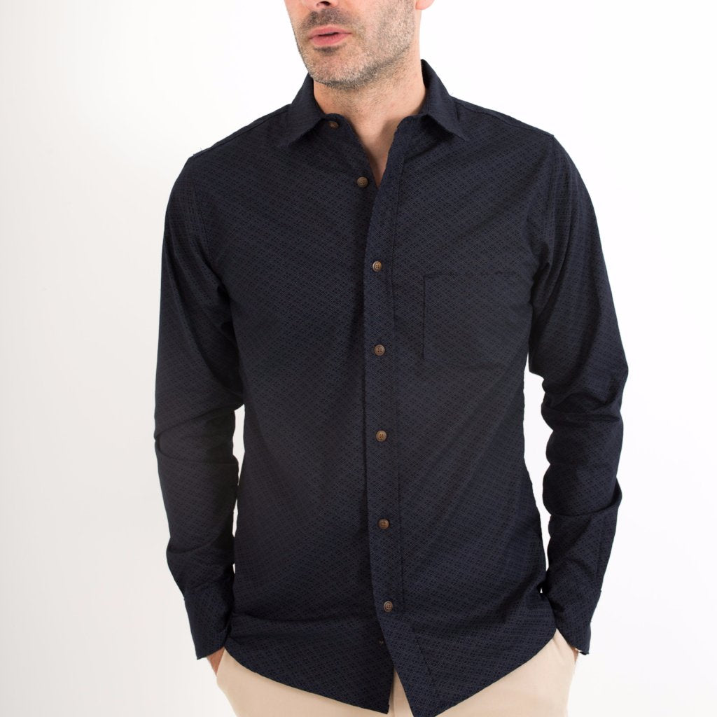 BD Shirt / Navy Diamond Print