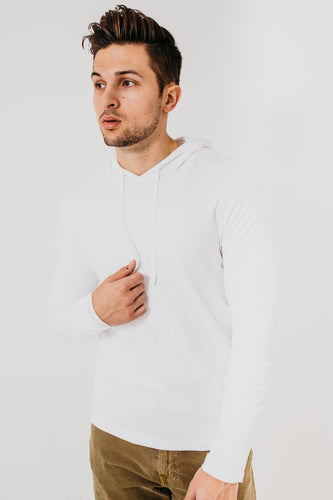 Double Layer Pullover Hoodie / Optic White