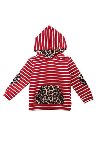 Red striped leopard hoodie