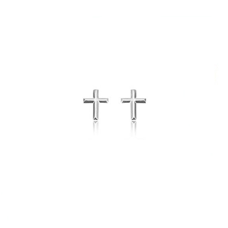 Mini Raised Cross Stud Earrings