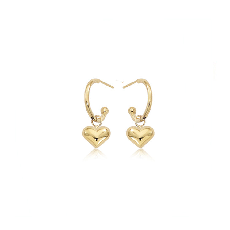 Gold Huggie Heart Drop Earrings