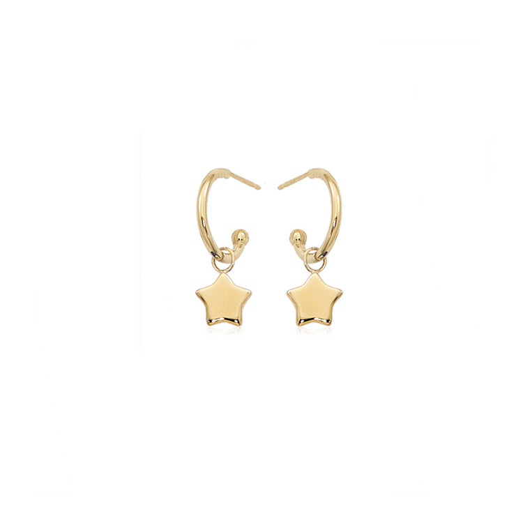 Gold Huggie Star Drop Earrings