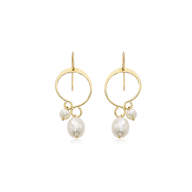 Fancy Loop with Staggered Pearl Earrings