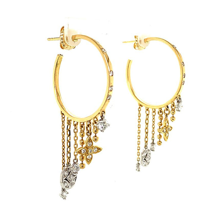 Gold & Diamond Dangling Hoop Earrings