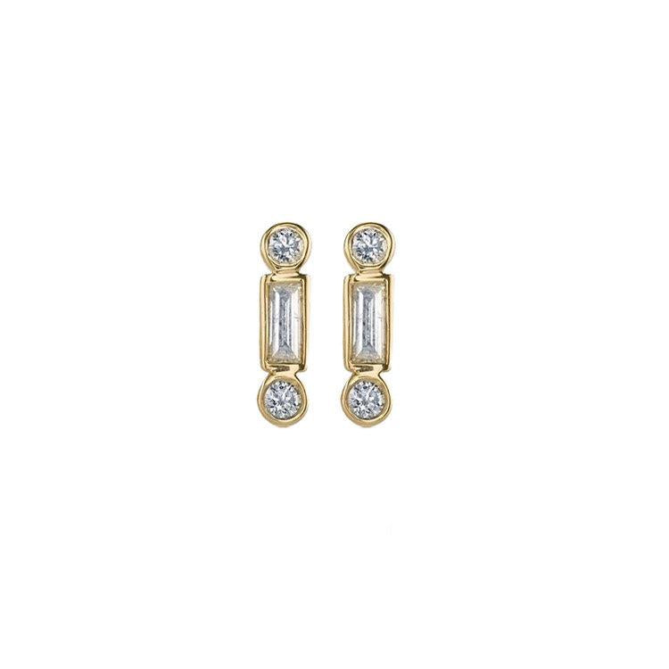 Gold Baguette & Round Diamond Bar Earring