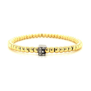 Gold Bead Diamond Initial  Stretch Bracelet