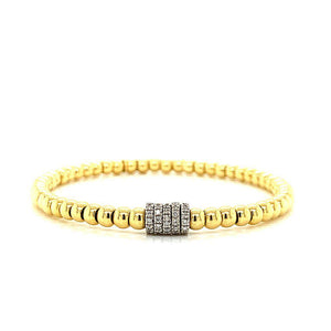 Gold Bead Diamond Rondels Stretch Bracelet