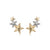 Two-tone Triple Star Earrings