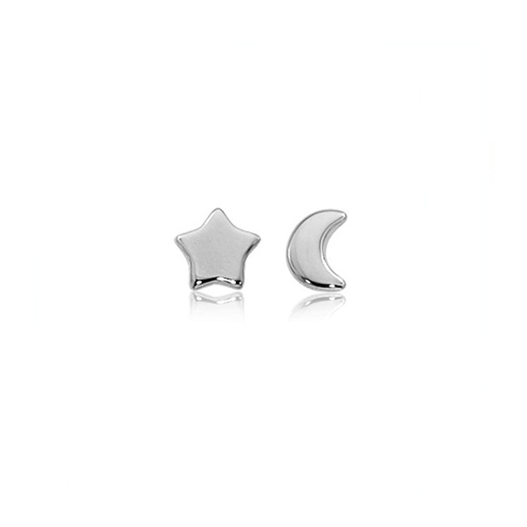Flat Star and Moon Stud Earrings
