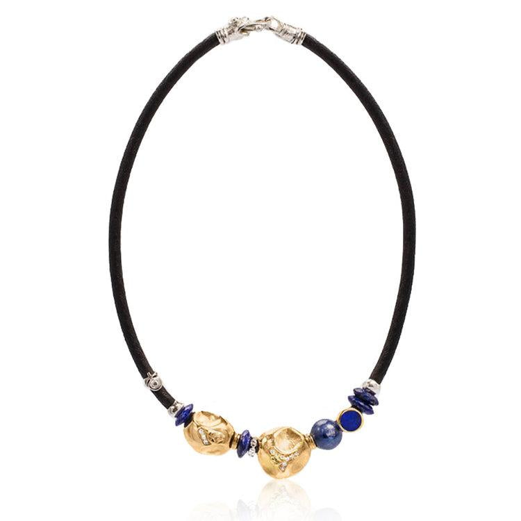 Leather Necklace with Tiger Eye, Lapis and Diamonds