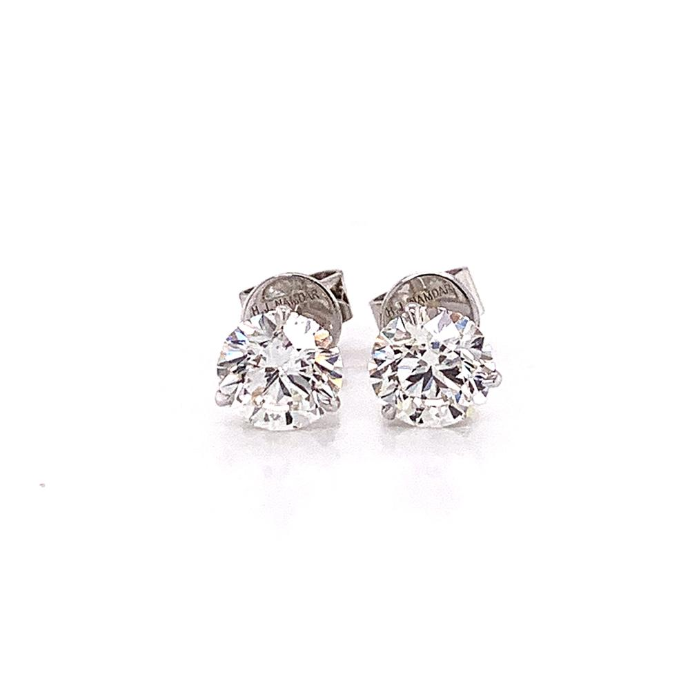 White Gold Martini Set 3 Prong Diamond Stud
