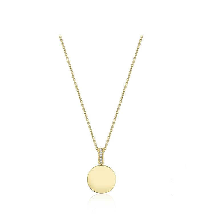 Diamond and Gold Disc Necklace