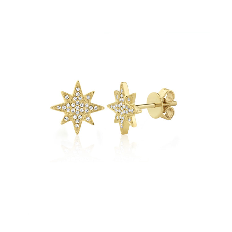 Gold and Diamond Star Stud Earrings