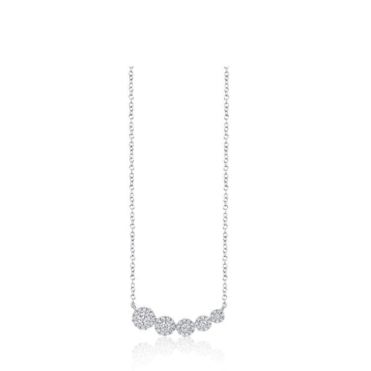 Graduated Curve Diamond Halo Bar Necklace