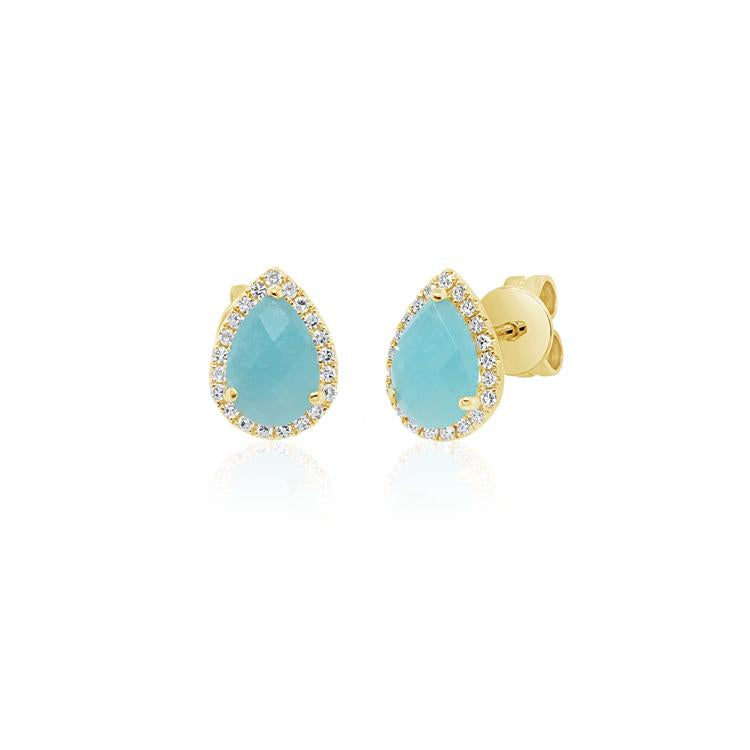 Amazonite and Diamond Teardrop Stud Earrings