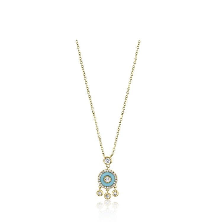 Turquoise and Diamond Shaker Necklace