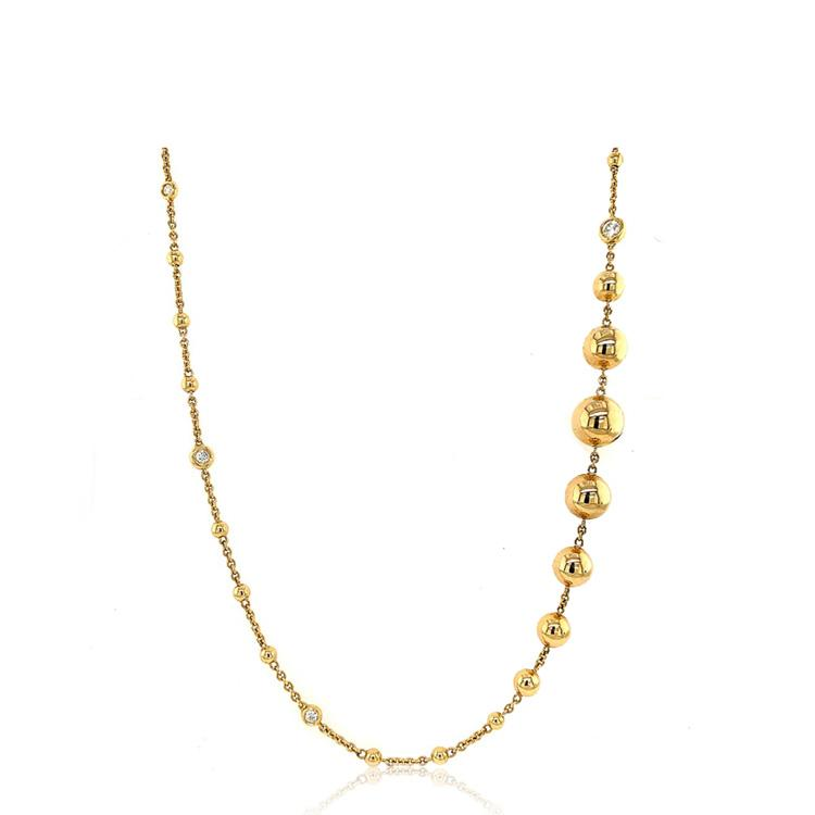 Diamond Bezel Gold Bead Necklace